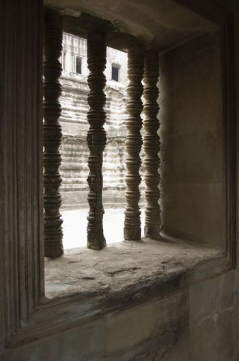 Columns in Window of Ancient Temple