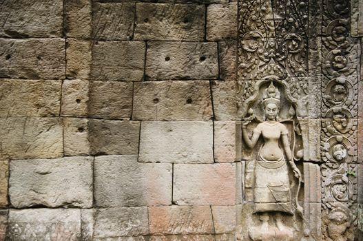 Relief Sculpture in Ancient Temple