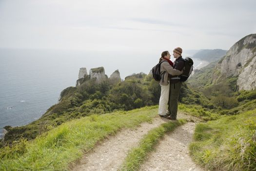 Hiking Couple Standing on a Path