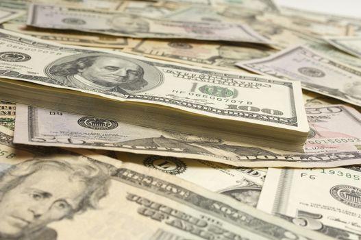 Heap of American dollar bills