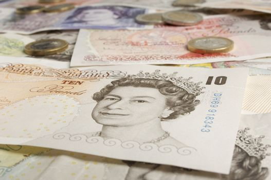Closeup of queen's portrait on British paper currency
