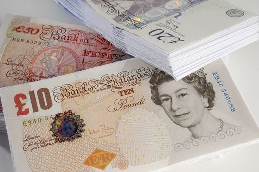 Closeup of British paper currency