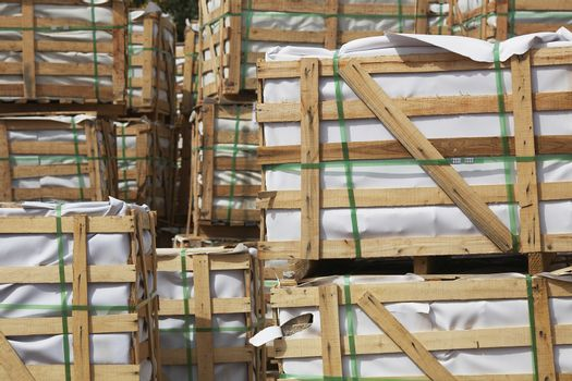 Stacked Crates of Building Materials