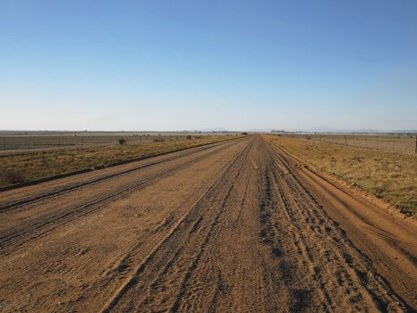 Country View Of Long And Straight Dirt Road