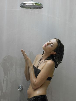 Young Woman in Bikini Showering