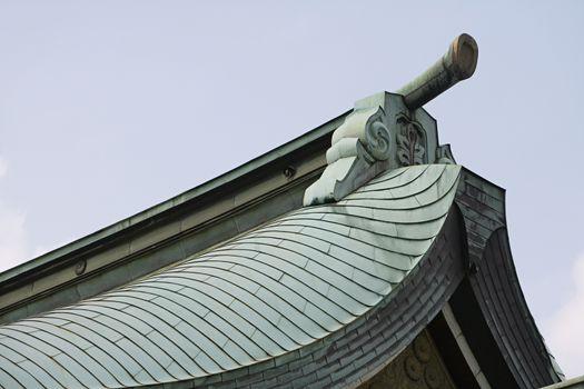 Gable on Tiled Roof at Meiji Shrine
