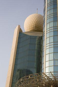 View of Etisalat Communications tower against sky in Dubai, Dubai, UAE