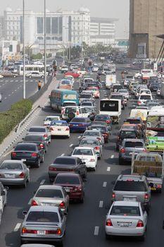 Traffic during rush hour on Al-Maktoum Road at Deira, Dubai, UAE