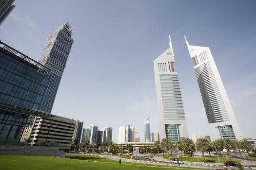Dubai UAE view of Emirates Towers on Sheikh Zayed Road