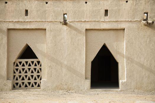 Architectural detail of Al Jahli Fort, Al Ain, Dubai, UAE