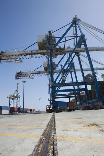 Truck loaded with containers leaving seaport at Limassol Cyprus