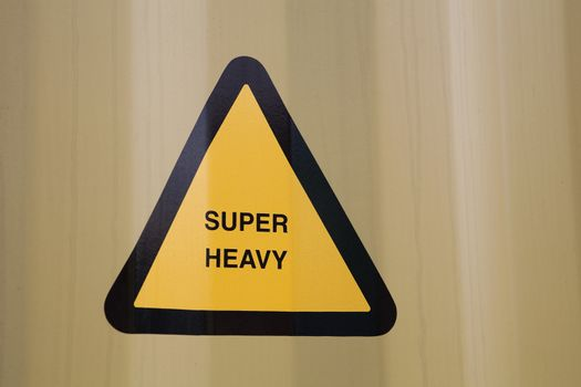 Closeup of a warning sign on triangle shape