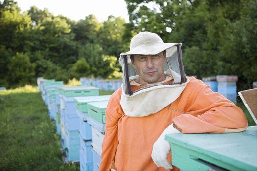 Beekeeper Standing in Apiary