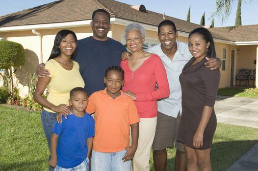 Family outside house portrait