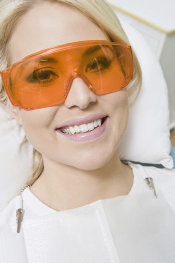 Woman wearing protective glasses