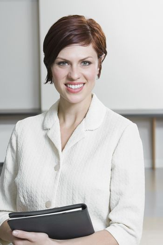 Cheerful Caucasian Businesswoman Portrait