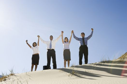 Business People Cheering in the Desert