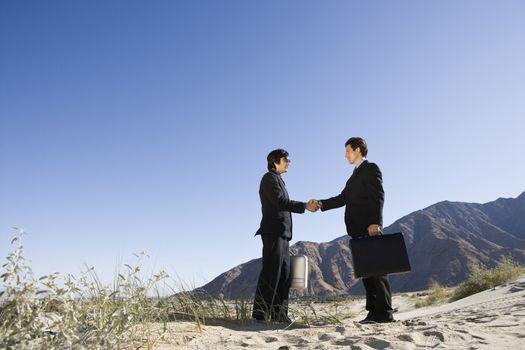 Two Businessmen Shaking Hands in the Desert