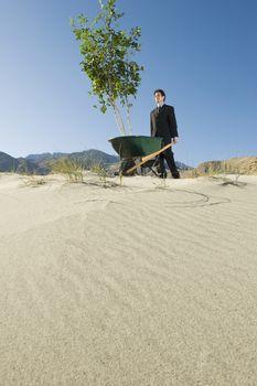 Businessman Pushing Wheelbarrow and Tree in the Desert