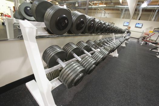 Shot of weight training equipment in a row at the gym