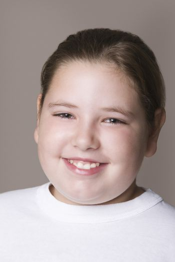 Overweight girl smiling
