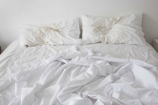 View of an unmade bed