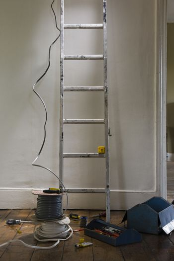 Ladder and tools in house