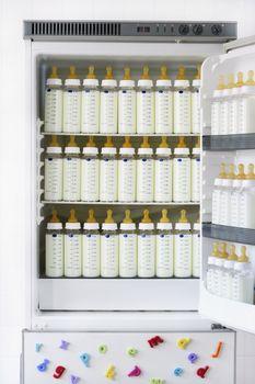 Fridge full of baby bottles with milk
