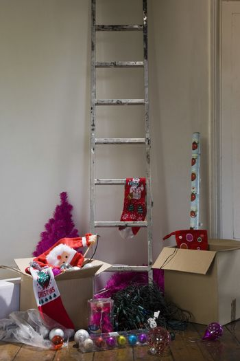 Ladder and boxes in house