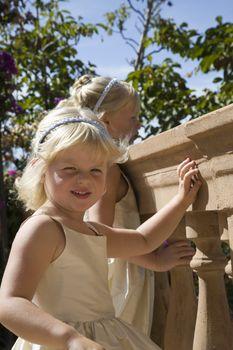 Two girls on balcony