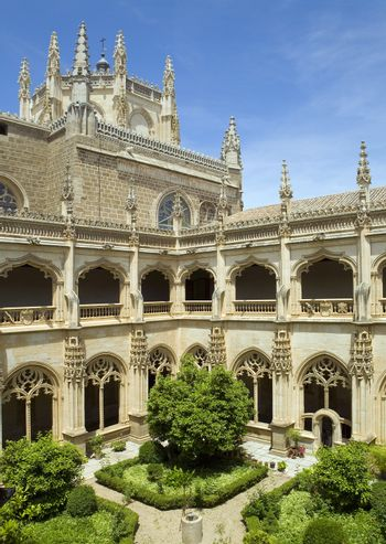 Elevated view of a palace courtyard at Spain