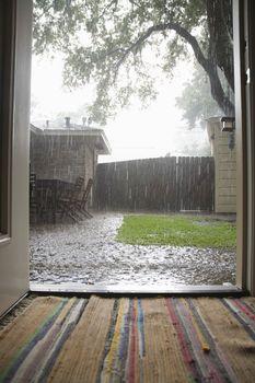 Heavy rain in backyard