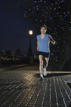 Man jogging at night
