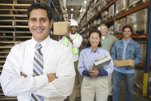 Distribution warehouse staff portrait