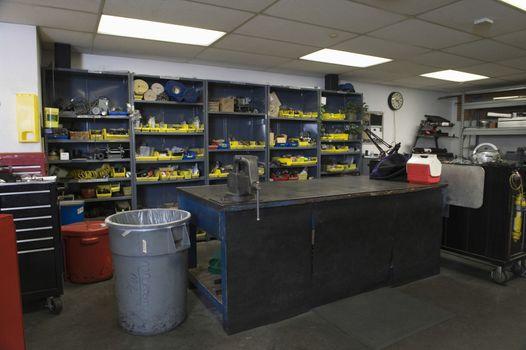 View of several tools on rack in workshop