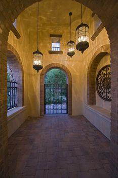 Arch hallway of modern home