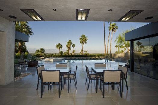 Outdoor tables on patio