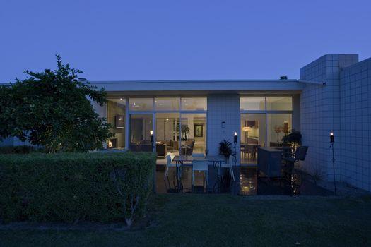 Exterior of modern house at dusk