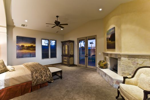 Elegant bedroom with fireplace