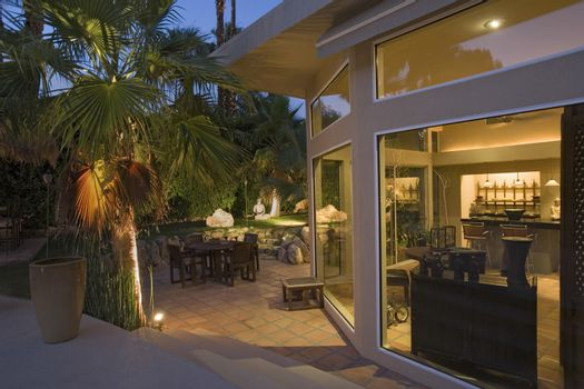 Exterior of modern home dusk