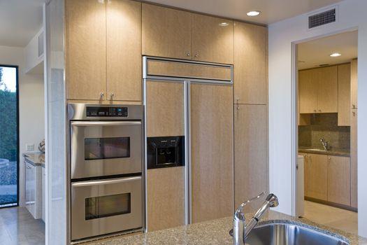Modern kitchen with stainless steel appliance