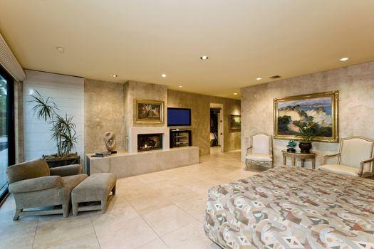 Illuminated modern residence interior