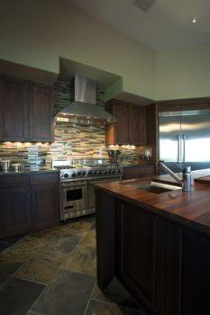 Illuminated modern kitchen