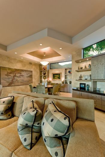 Contemporary living room dining room in the background