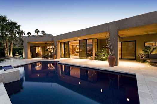 Modern residence exterior and swimming pool