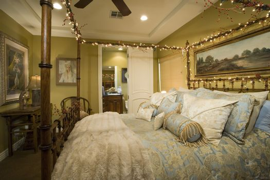 Illuminated residence bedroom