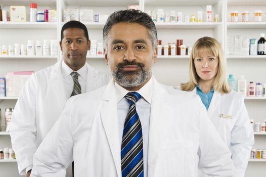 Three pharmacists portrait