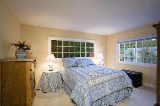 Illuminated bedroom in residence