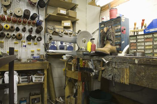 View of a traditional shoemaker workshop