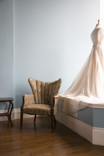 View of a mannequin with wedding dress in bridal store